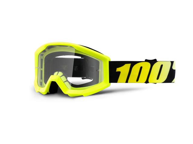100% Strata Anti Fog Clear Goggles Youths neon yellow